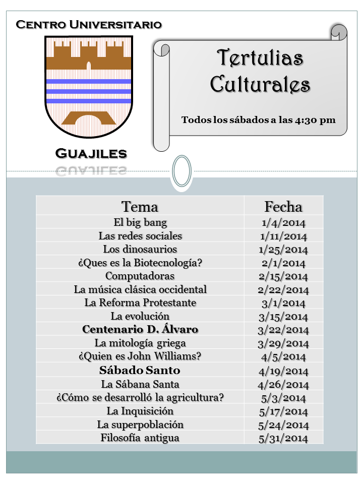 Tertulias Culturales Ene-Mayo 2014